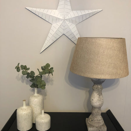 Extra Large off white lined metal barn star