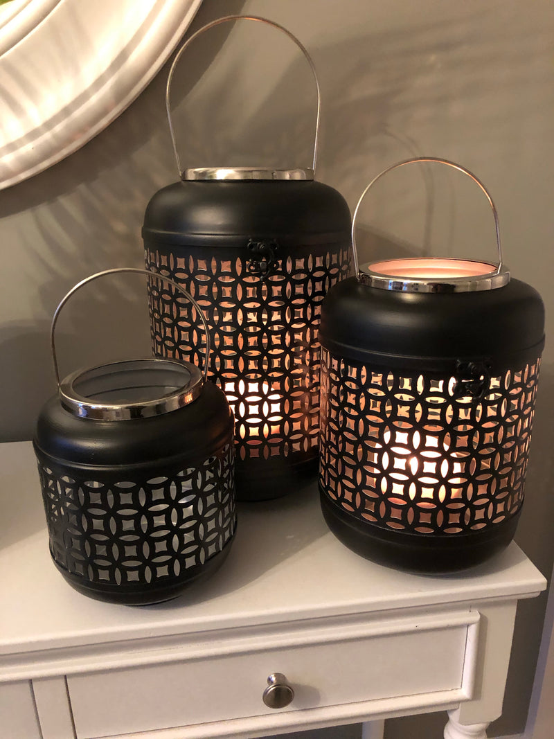 Large black Moroccan cut out lantern