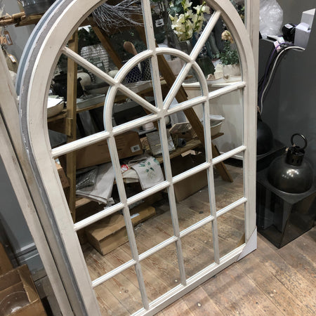 Off white distressed arched window mirror 135x90