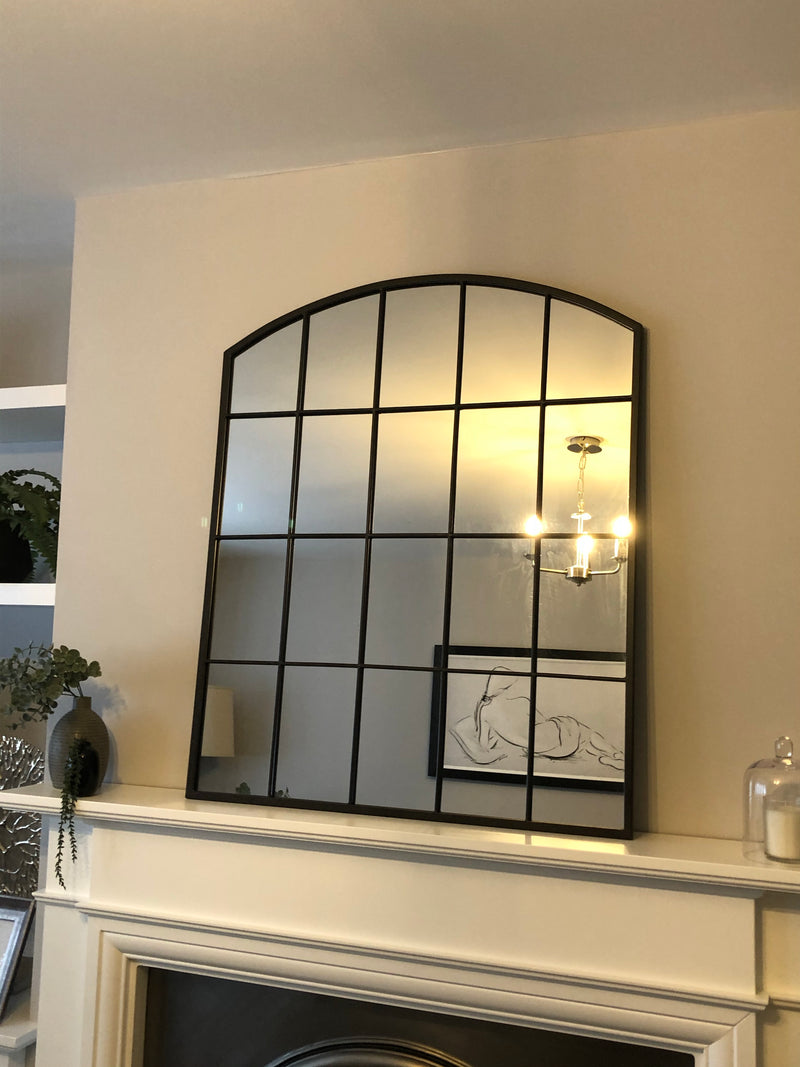 Metal window mirror with arched top 91x76