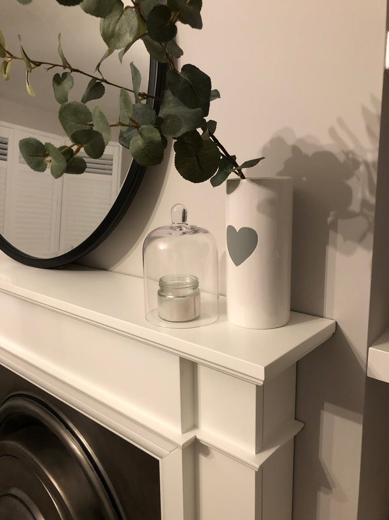 Medium white ceramic vase with grey heart