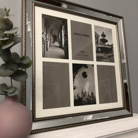 4x6 silver mirrored 6 picture multi frame