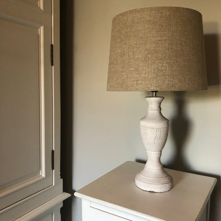 White washed wood lamp with neutral shade