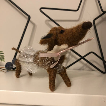 Long sausage dog hanging decoration in dress
