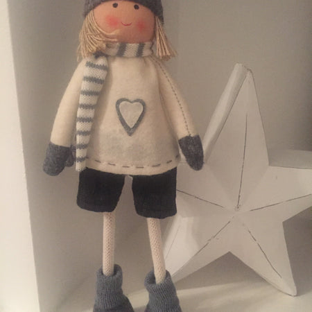 Grey standing festive dolly