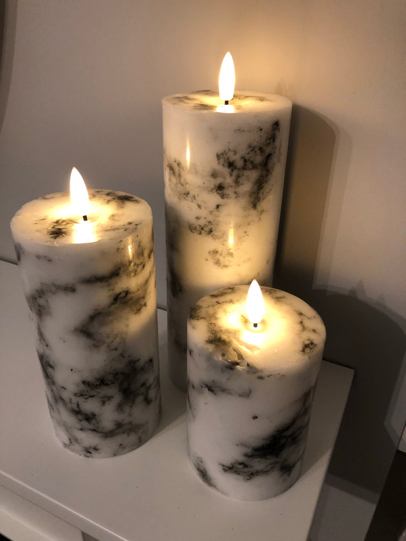Luxe LED marble candle 20cm by 7cm