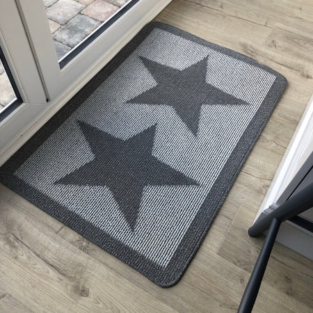 Grey star door mat rug 80cm by 50cm