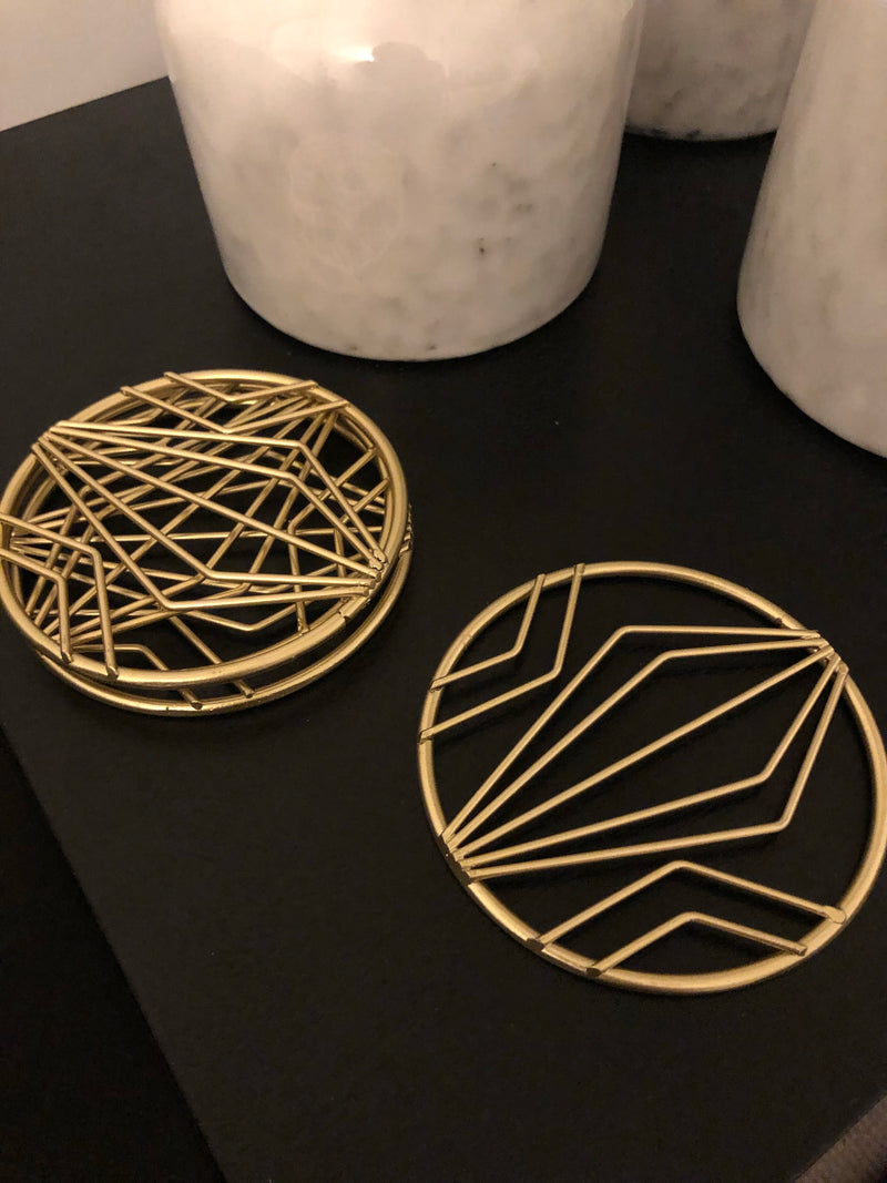 Gold geo coasters set of 4