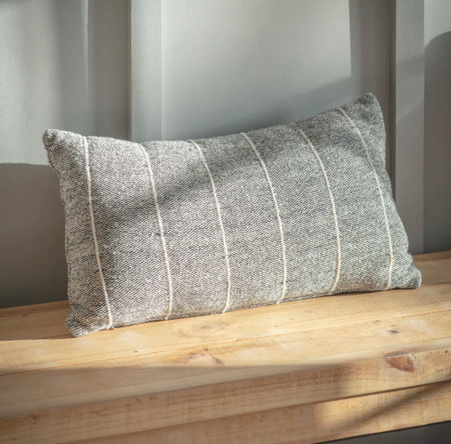 Walberswick grey stripe oblong cushion