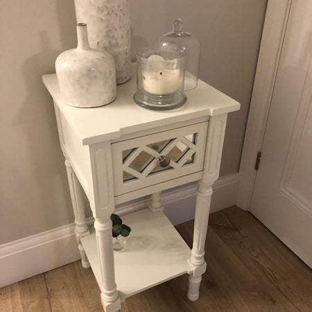 Store seconds white mirrored side table