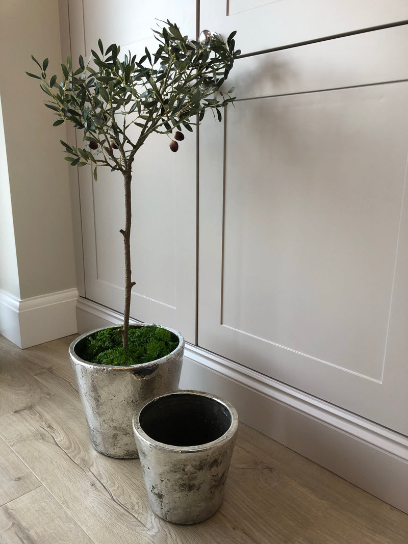 Large silver chunky planter