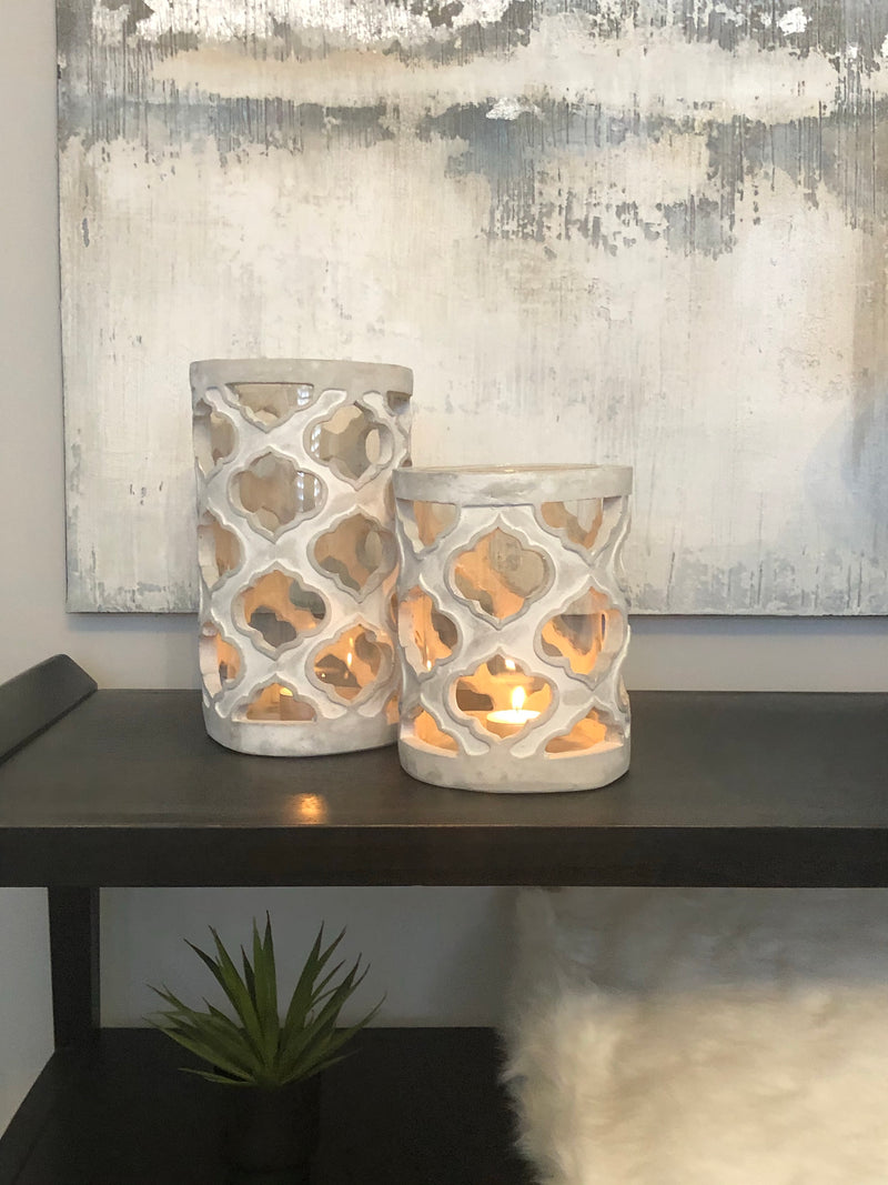 Large stone geo patterned candle holder