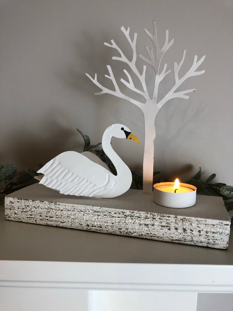 Regal swan candle holder