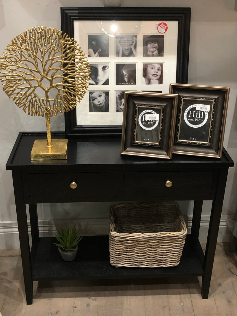 Satin Black 2 drawer console with shelf