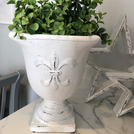 Large White Cement Urn