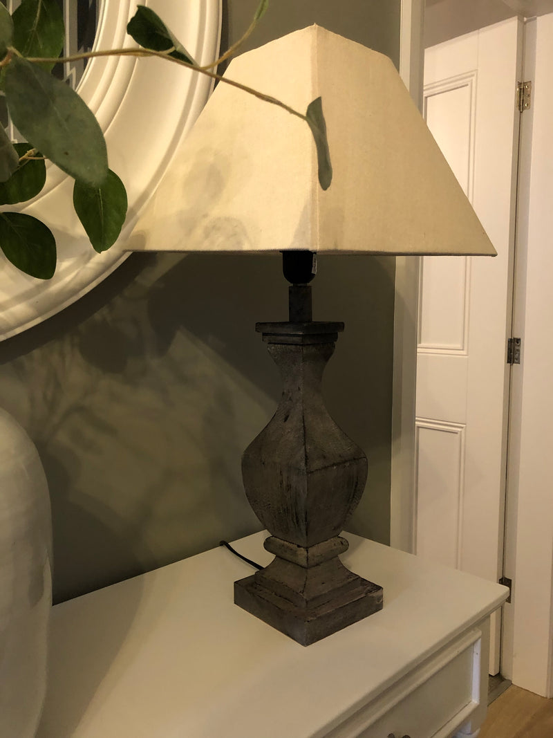 Florence fluted wooden tall lamp