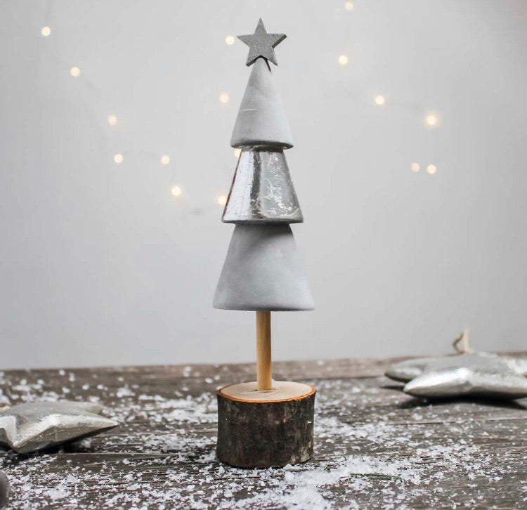 Cement and wood Christmas tree