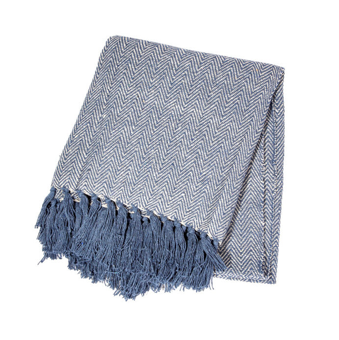 Navy blue herringbone throw blanket