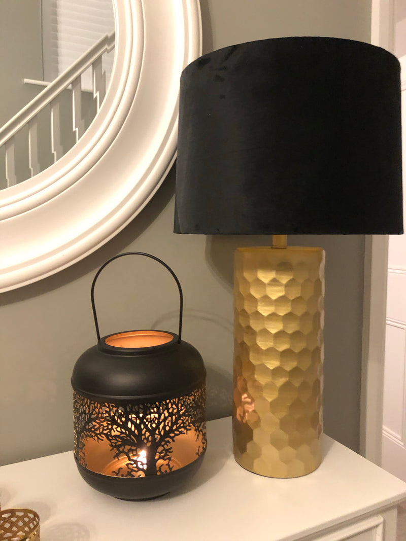 Black and gold tree cut out metal lantern