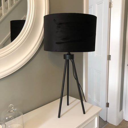 Matt black metal tripod table lamp