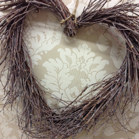 Grey Rustic Twiggy Heart Wreath (50cm)