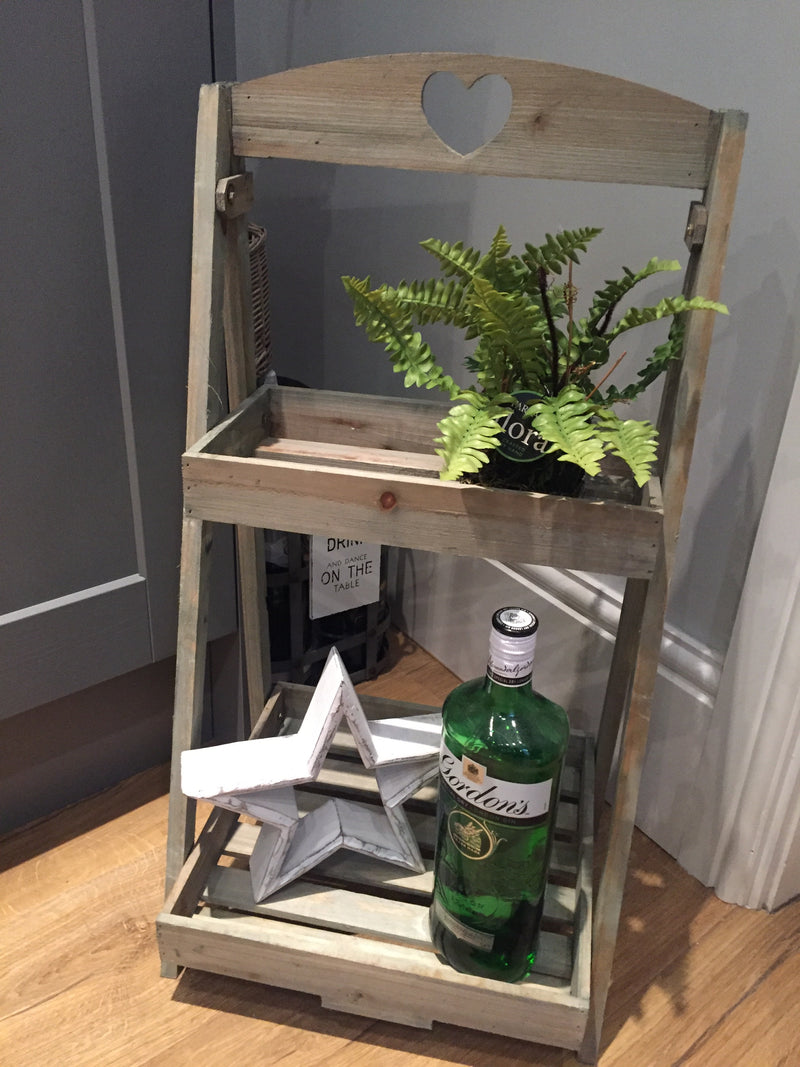Wooden two tray plant stand