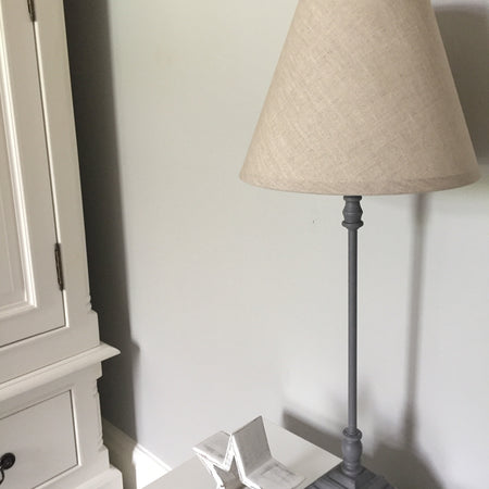 Slim square base grey lamp