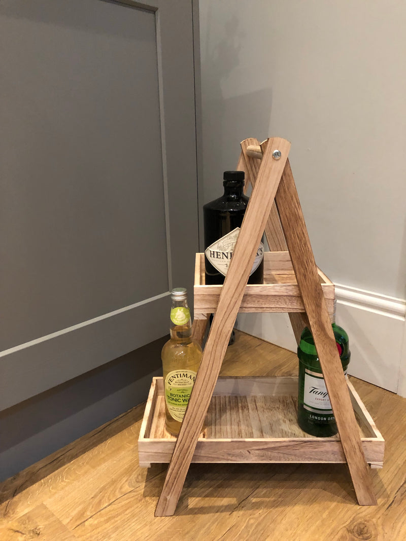 Wooden 2 tray A frame ladder stand