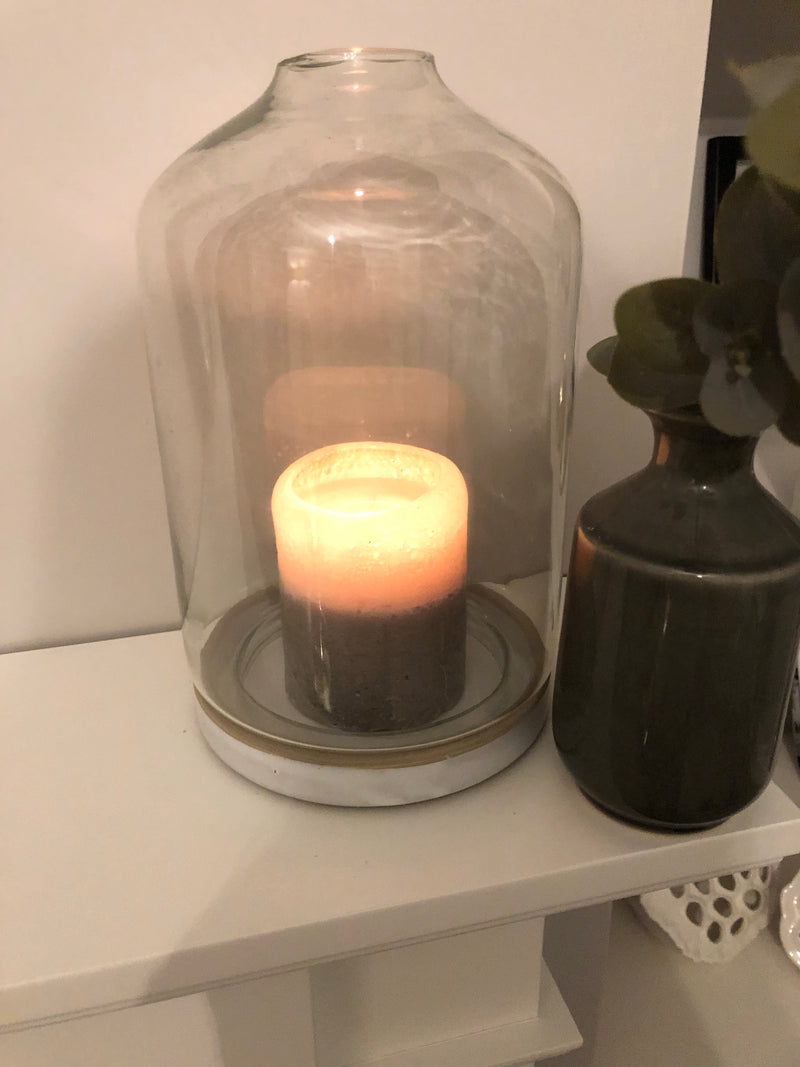 Candle cloche with pale grey ceramic base