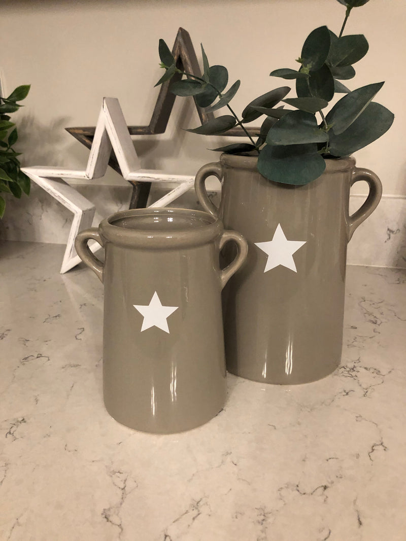 Medium grey ceramic handled vase with star