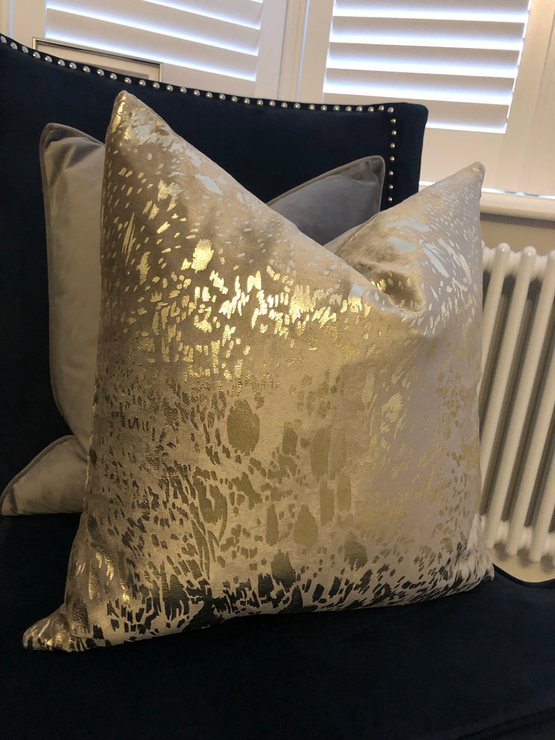 Metallic mink grey cushion gold accent 45cm
