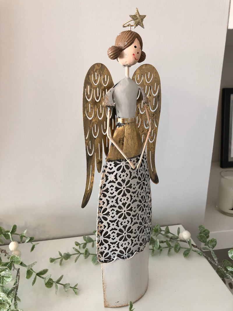 Large gold standing angel with lace detail