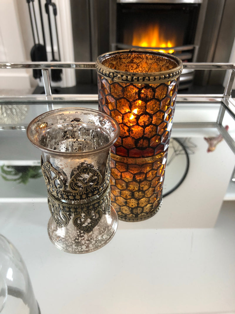 Metal and glass candle holder