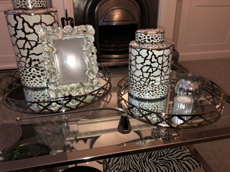 Large round chrome geo mirrored tray