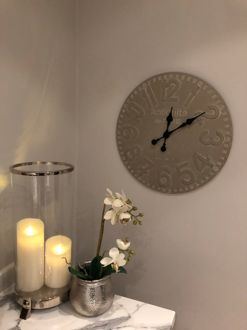 Dove grey round wall clock