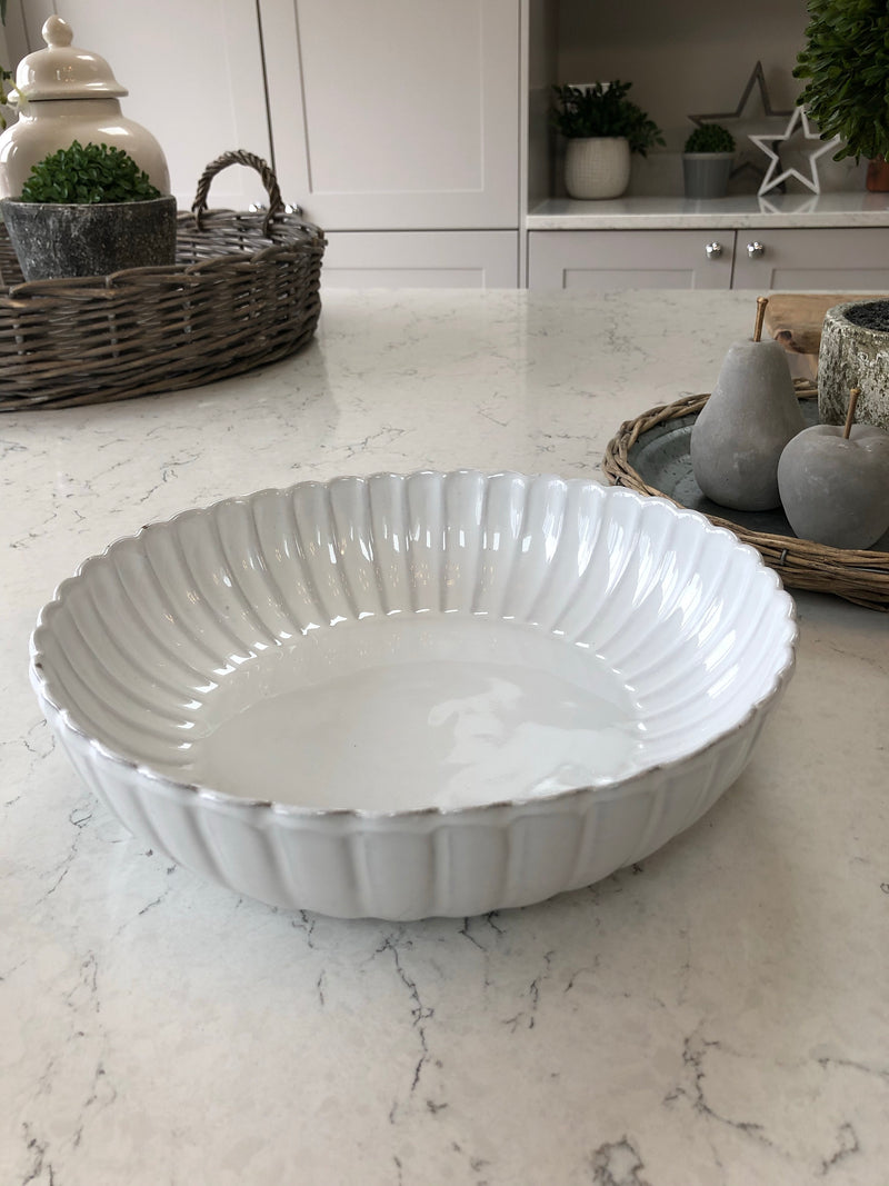 White round ceramic fluted bowl