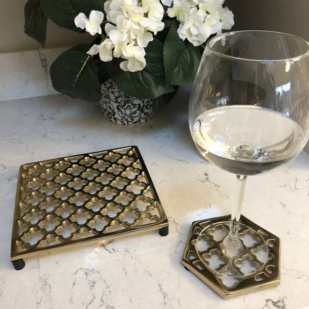 Set of 4 Gold Marrakesh coasters