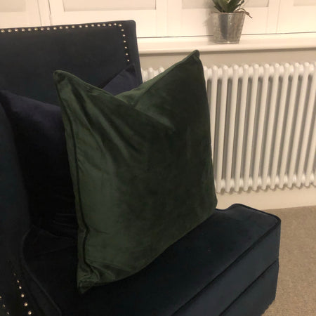 Large pine green velvet cushion 50cm