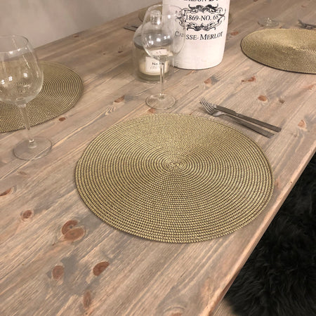 Gold and grey round placemats set of 4