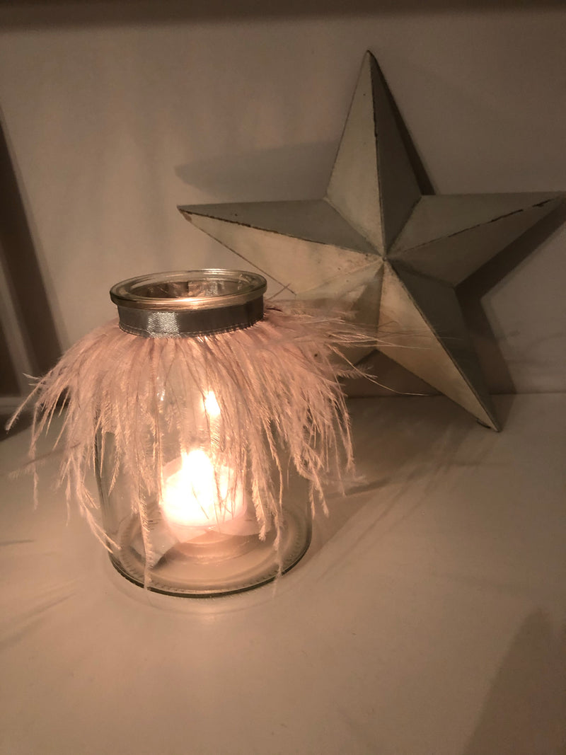 Parlane Pale Grey Feather Tealight