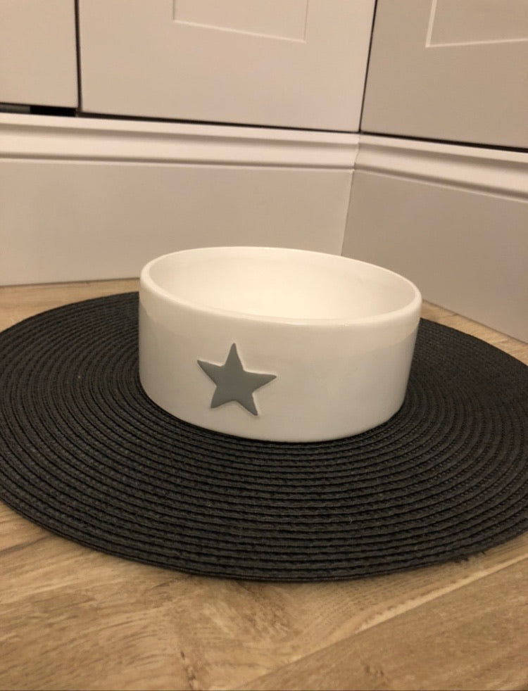 White ceramic dog cat bowl with grey star