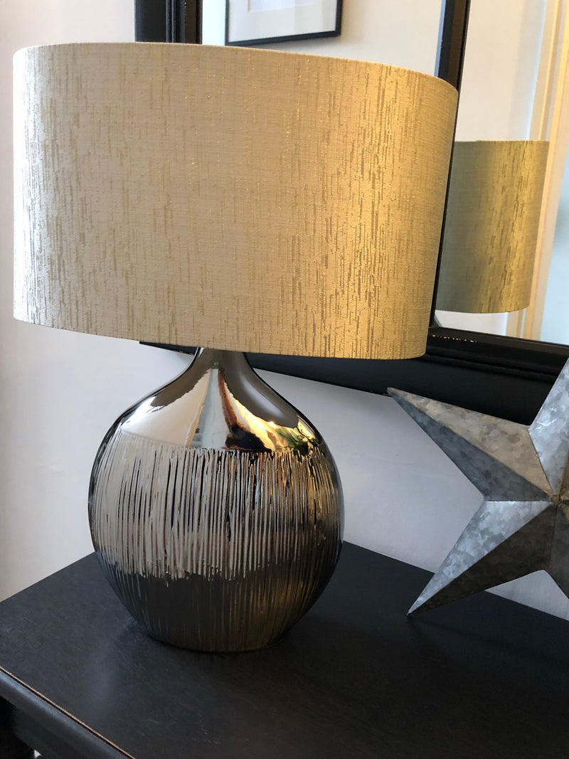 Silver etched lamp silver grey shade