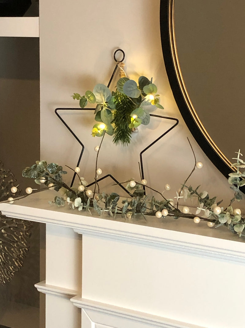 Large Black metal LED outline star with foliage