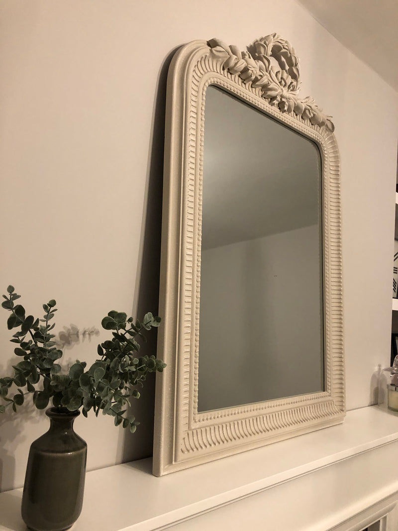 Black arched top metal mirror
