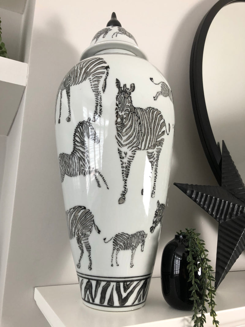 Lidded monochrome zebra print lidded jar