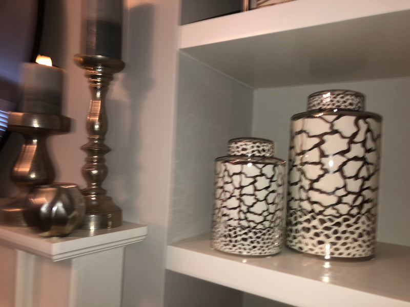 Large silver and white ginger lidded jar