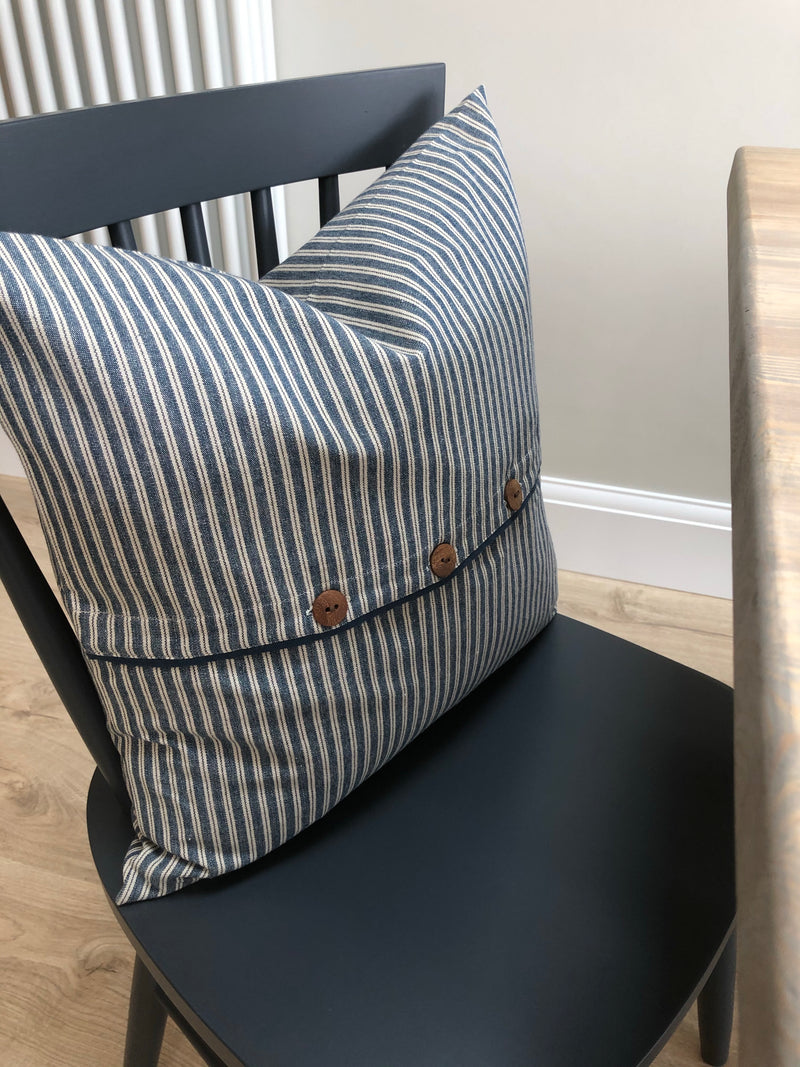 Ticking Stripe cushion with chunky buttons