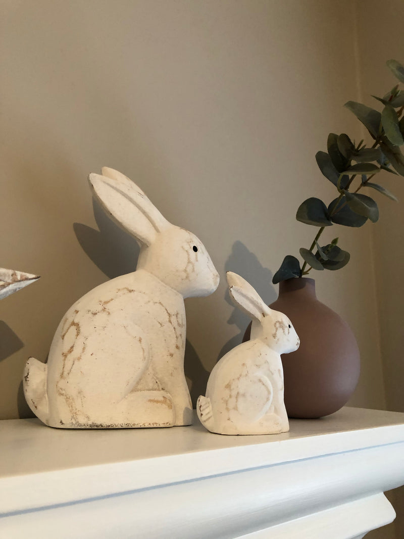 Small Rustic White Rabbit