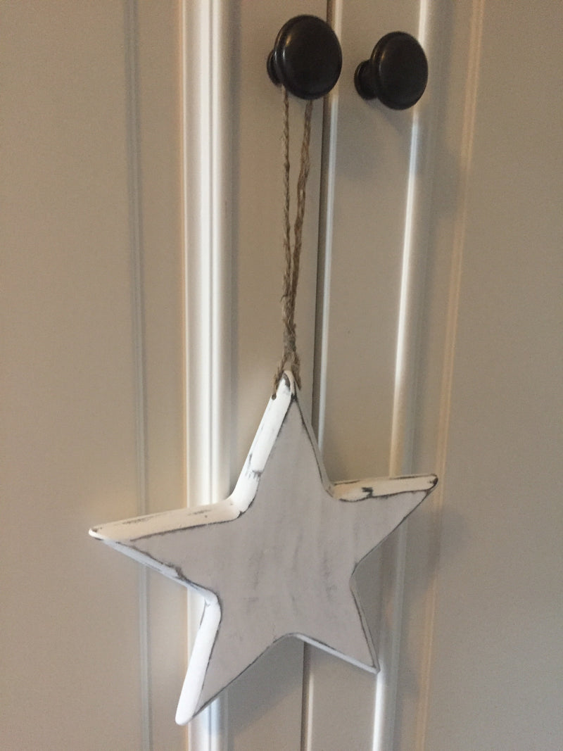 Medium white solid hanging star