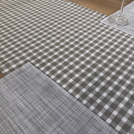 Grey gingham check table runner 180x40